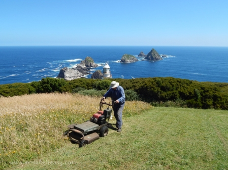 David mowing on Maatsuyker