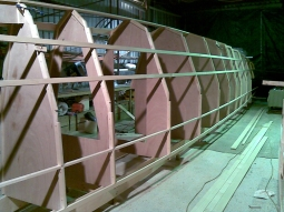 First milestone: one hull is at frame stage. The shape appears.