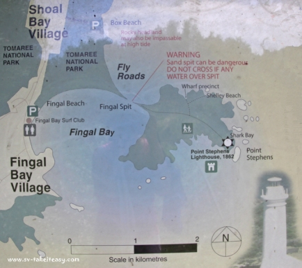 A map of Fingal Bay showing the Spit
