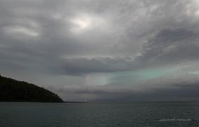 Lightning strike in the eerie sky