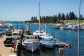 Rafted up to the fishing boats at Bermagui!