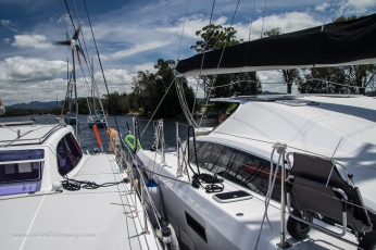 A quatromaran! Take It Easy and Exhale rafted up together on the Moruya River