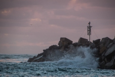 Breaking waves at the end of the Breakwater - Clarence River