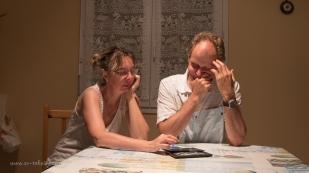 Véro and Wade playing Sudoku