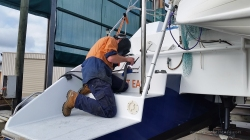Welding drill holes in the rudder shaft
