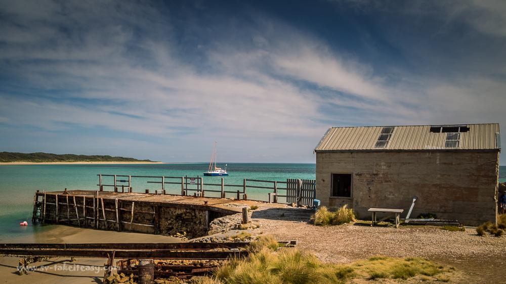 Chimney Corner, Three Hummock Island, with its derilct jetty