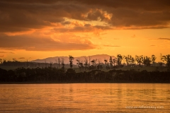 Sunset over Mt Roland from Squeaking Point anchorage