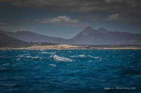 Sailing south, past Key Island Bay on Cape Barren Island