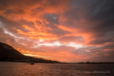 Fiery sunset at Killiecrankie Bay