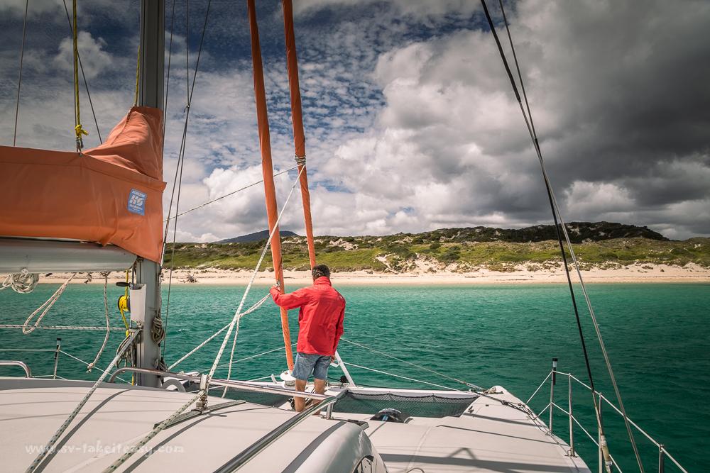 Take It Easy anchoring at Key Island Bay, Cape Barren Island