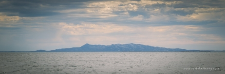 Storm brewing at Mt Kerford on Cape Barren Island. Seen here from our anchorage at Moriarty Bay