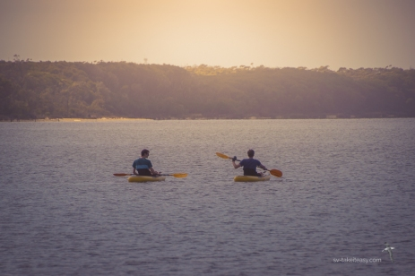 Nephews out on the kayaks