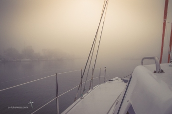 Next morning, return to Paynesville in heavy fog. We got some practice at using the radar!