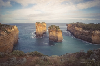 Loch Ard Gorge - the two stacks in the centre are once formed an arch.