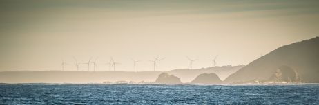 Off Cape Paterson with the wind turbines of Wonthaggi