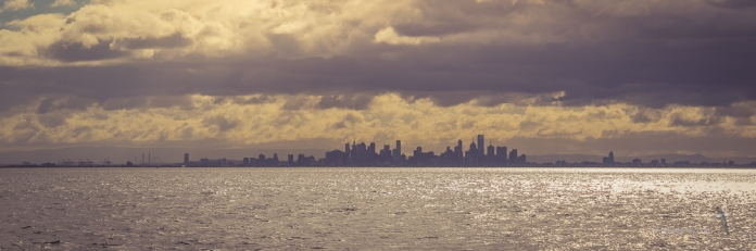 Melbourne skyline from Port Phillip Bay