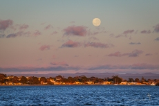 Leaving Greenwell Point at dawn, with a full moon