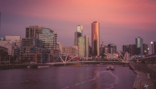 Melbourne City at sunset
