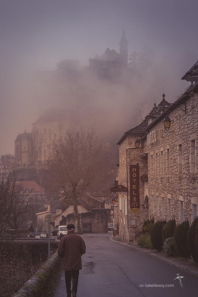 Rocamadour in fog