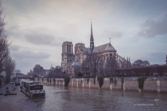 Back view of Notre Dame, on the island of La Cité