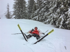 Our most experienced skier is down!