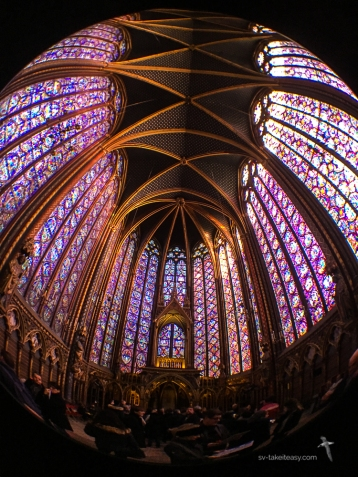 St Chapelle and its magnificent leadlight windows - taken with the fisheye lens
