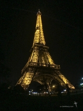 Eiffel Tower at night from Champs de Mars