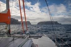 Through the gap between Cape Pillar and Tasman Island