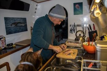 Waz preparing the sashimi