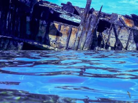 Rusty hull of Protector