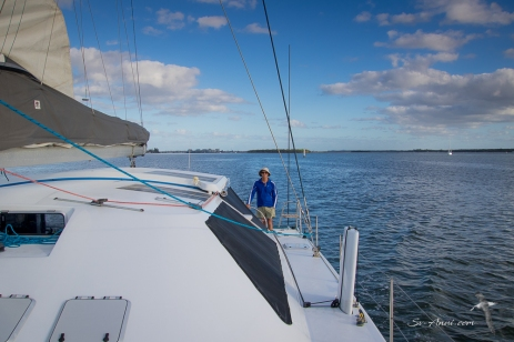 Wade at the helm in the Broadwater