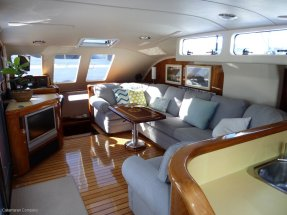 Comfy saloon and Nav station on the left